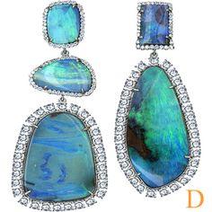 14.35 Ct Natural Australian Black Opal Colorless Diamond 18k White Gold Earrings   eBay