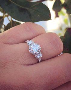Real Ritani Engagement Rings - Meagan's custom three-stone halo ring   #RitaniPinterest