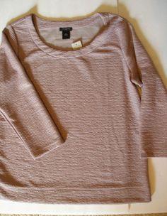 ANN TAYLOR 3/4 Sleeve Pink Metallic Pucker Knit Top Sz Med Ret $59.99 NWT #AnnTaylor #KnitTop