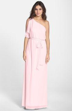 Main Image - nouvelle AMSALE 'Bea' One-Shoulder Chiffon Gown