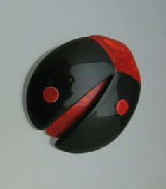Lea Stein Paris Ladybug Brooch Black and Red Plastic Vintage Animal Insect Jewelry