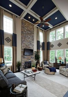 Blue Living Room Ideas (Interior Design Pictures) Living room with high ceiling painted blue and whiteLiving room with high ceiling painted blue and white Living Room Interior, Home Living Room, Living Room Designs, Living Room Decor High Ceilings, High Ceiling Living Room Modern, High Ceiling Decorating, Blue Curtains Living Room, Modern Ceiling, Living Area