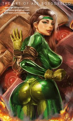 Rogue from X-MEN - Patreon - Term 1 - SFW VERSION by AleBorgo.deviantart.com on @DeviantArt - More at https://pinterest.com/supergirlsart #rogue #xmen #marvelcomics #marvel #comics #hot #sexy #fanart