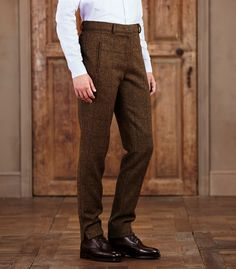 Womens Flat Front Tweed Trousers
