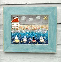 Sailboat Glass Art Sailboat Wall Decor Whimsical by LookandSea