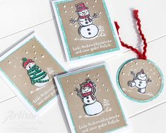 Christmas cards with stampin up stamp set - frosty greetings - Weihnachten Stampin Up Christmas, Christmas Tag, Christmas Projects, Stampin Up Weihnachten, Snowman Cards, Card Making Inspiration, Diy Halloween Decorations, Card Sketches, Stamping Up