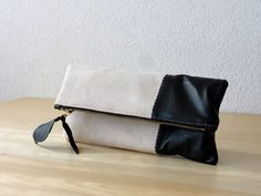 Leather Clutch in Black Italian Leather and Beige Linen