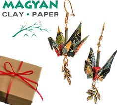 Win a Pair of Origami Crane Earrings with Leaves Charm by Magyan Clay & Paper - $42 Value - Handmade - Gift Boxed!  #LaPrimaRoyale