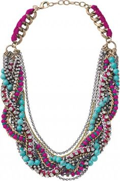 One of my favorite statement necklaces! This is the Bamboleo Necklace. A medley of pink dyed jade and turquoise are loosely braided with antiqued chains to create a bold, colorful statement.