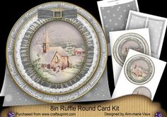 Christmas Day H Christmas 8in Round Ruffle Mini Card Kit on Craftsuprint - Add To Basket!