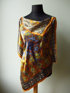 Lovely - Refashioned Scarf Blouse (a scarf laid asymmetrically and stitched to the front of a cami)