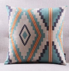 Decorative Cotton Linen Throw Cushion Case, Printed Pillow Case, Sofa Pillows, Couch Pillows, Multi Color Lines, Waves, Geometric lines