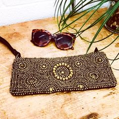 Items similar to Leather beaded wristlet/clutch on Etsy Sunglasses Case, Brown Leather, Beads, Metal, Gold, Beading, Bead, Seed Beads, Pearls