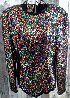 Vintage Stenay Sequin Beaded Silk Top Blouse Long Sleeves Multi Color Large…