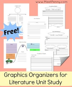 Literature Unit Study Notebooking Printables - helps elementary readers organize and outline books Teaching Reading, Reading Classes, Teaching Literature, Guided Reading, Learning, Middle School Ela, Homeschool Curriculum, Homeschooling, Book Activities