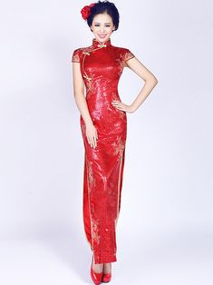 Red Short Sleeves Ankle-length Cheongsam / Qipao / Chinese Wedding Dress