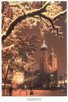 Snowing in Krakow, Poland.