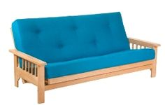 "Oak Cavendish 3 seat futon frame w/TwinLoft futon mattress 8"" thick filled with chemical free filling"