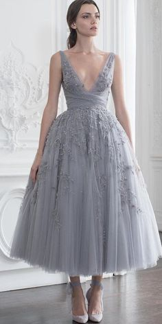 24 Gorgeous Tea Length Wedding Dresses ❤  tea length wedding dresses pale blue v neckline floral embellishment paolo sebastian #weddingforward #wedding #bride