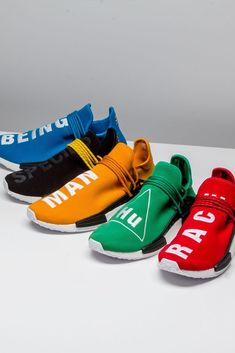 """Pick a color, any color. No matter your choice, the message behind the Pharrell Williams x Adidas NMD """"Human Race"""" remains the same: life is about love, togetherness, and fly kicks. Human Race Shoes, Adidas Human Race, Sneakers Shoes, Sneaker Boots, Adidas Shoes, Sporty Outfits, Winter Outfits, Summer Outfits, Teen Fashion"""