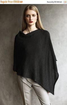 Sale Offer Merino Wool Knitted Poncho Cardigan by suzybonomini