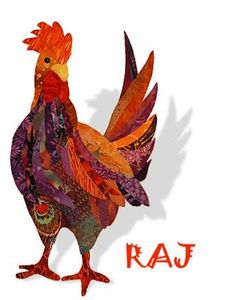 Free Chicken Applique Patterns | Raj Rooster Applique Quilt Pattern by Florine Johnson Designs So Handsome!!!: