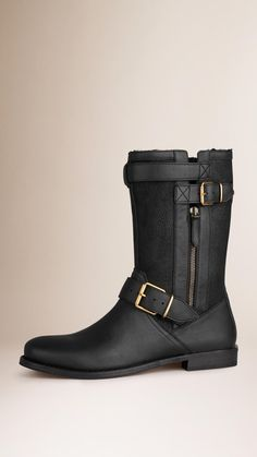 Shearling-Lined Leather Biker Boots | Burberry