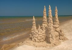 Sand dipple castle on Pentwater Beach Lake Beach, Beach Fun, Sanibel Island, Island Beach, Beach Trip Tips, Pool Fountain, I Love The Beach, Sand Art, Beach Crafts