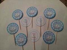 Happy birthday ice skating cupcake toppers