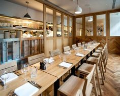 Great use of a light wood motif throughout this restaurant design!