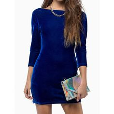Blue Long Sleeve Backless Velvet Bodycon Dress ($23) ❤ liked on Polyvore featuring dresses, midi dress, blue long sleeve dress, long-sleeve mini dress, long blue dress and long sleeve midi dress