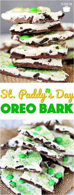 St. Patrick's Day No-Bake Oreo Bark recipe from The Country Cook #desserts #nobake #easy #recipes #ideas #StPatricksDay #kidfriendly #Oreos