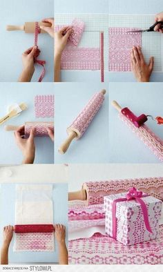 Print paper with lace on a rolling pin