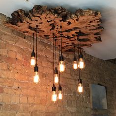 Large Live-Edge Olive Wood Custom Chandelier Light Fixture with Edison bulbs – Industrial/Contemporary/Rustic/Sculptural/Earthy 0030 - All For Decoration Industrial Chandelier, Rustic Chandelier, Chandelier Lighting, Ceiling Design, Lamp Design, Wood Lamps, Table Lamps, Rustic Contemporary, Natural Home Decor