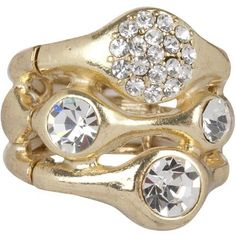 Stunning Gold Tone Pave Crystal Stack Style Ring Stretches to fit Sizes 6 - 10 Heirloom Finds. $8.99. Elegant and Trendy and Makes the Perfect Gift. Trendy Gold Tone Crystal Pave Stack Style Ring. Clusters of Crystals Razzle and Dazzle. Perfect with Jeans or that Little Black Dress. Stretches to fit sizes 6 - 10. Save 68%!