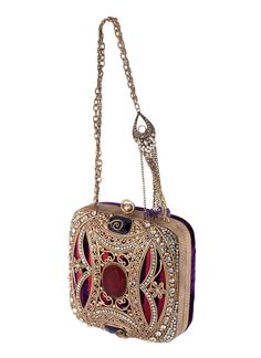Gorgeous Vintage French Gold Brocade Evening Bag with Large Ornate Beaded Rhinestone Clasp and Chain Handle