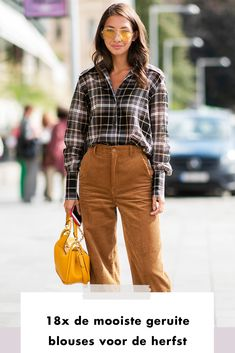 Fashion | look of the day | ootd | fashionchick | blouse | checked | geruit | yellow | sunglasses | brown | streetstyle | bag | daylight | read | artical | artikel | reading | good to know Look Fashion, Fall Outfits, Fall Winter, Street Style, Blouse, Urban Taste, Blouses, Street Style Fashion, Street Chic