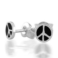 Bling Jewelry Childrens Jewelry Black Enamel Peace Sign Sterling Earrings 5mm