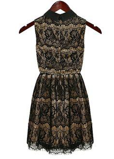 Turndown Collar Black Lace Dress