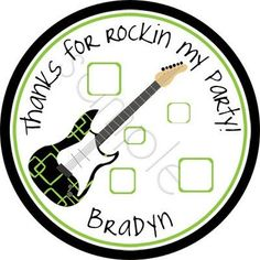 Guitar Hero Rock Star (black/green).  Personalized stickers by partyINK.