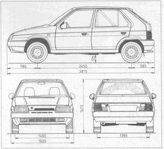 Skoda Favorit (1987 - 1995) Train Illustration, Technical Drawings, Car Sketch, Felicia, Czech Republic, Cars And Motorcycles, Techno, Benz, Porsche