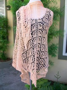 Sweet Georgia Peachsicle Pima Cotton Hand Knitted Lace Shawl. $145.00, via Etsy.