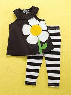 "Mud Pie Baby Girl ""Flower Tunic & Leggings Set""  Size 9-12 Months  NEW"
