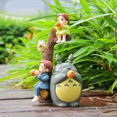 Fairy Garden Accessories set of 5 Miniature 2 Totoro 2 Girl and 1 Imitation Wood Garden Decoration Miniature Terrarium Accessories