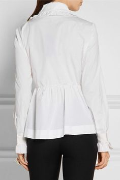 Fendi - Ruffled Cotton-poplin Peplum Shirt - White - IT42