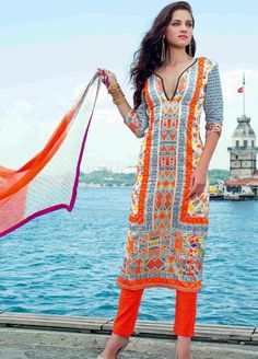 Cotton Satin Suit with Chiffon Dupatta OTST-19003B - #Clearance ...