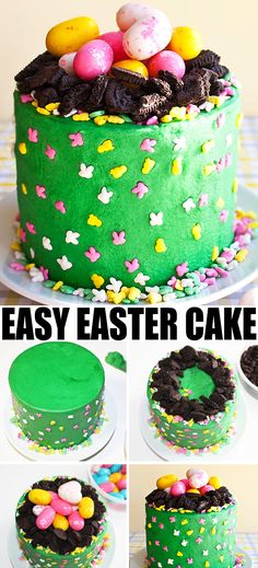 Use this cake decorating tutorial to learn how to make a quick and easy EASTER EGG CAKE. Great for kids Easter parties! From cakewhiz.com #easter #eastereggs #cakedecorating #cakedesign #howto #cake #dessert #dessertrecipes #partyfood