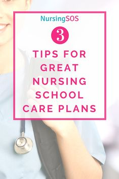 3 Tips For GREAT Nur 3 Tips For GREAT Nursing School Care Plans.Click through for an easy breakdown of how to write amazing care plans in nursing school. Lpn Schools, Top Nursing Schools, Nursing School Tips, Nursing Students, Nursing School Motivation, Masters Degree In Nursing, Cna School, Nurse Practitioner Programs, Nursing Diagnosis