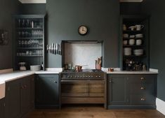 12 Farrow and Ball Kitchen Cabinet Colors - For the perfect English Kitchen - Looks like Down Pipe - kitchen by DeVol