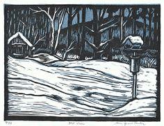 """Mountain View"" by Jane Tentas (block print, 4 1/2 x 6, $40 unframed)"
